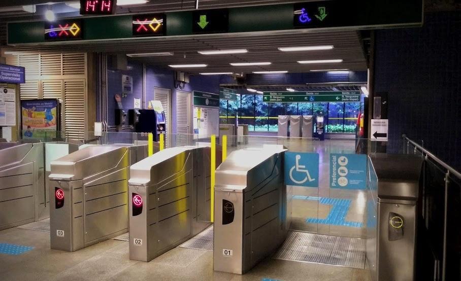 mostrar a saída (cancela) do metrô